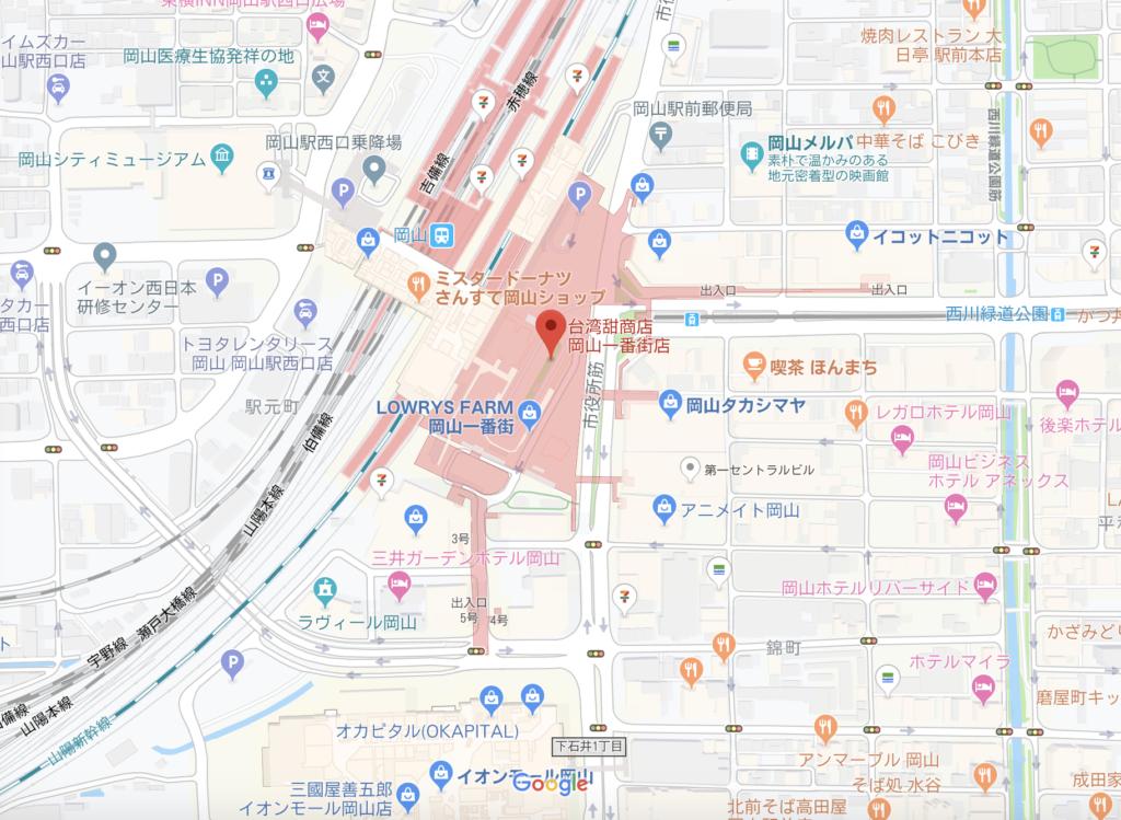 岡山 台湾甜商店の場所